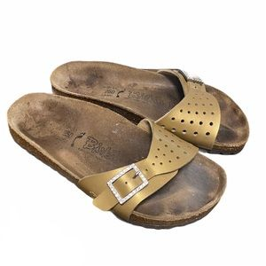 BIRKENSTOCK 39 Birki's Madrid Slide Sandals Gold